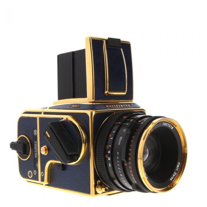 Hasselblad 503CX Golden Blue 50TH Anniversary Edition With Waist Level Finder, 80mm CF Lens, A12 Back