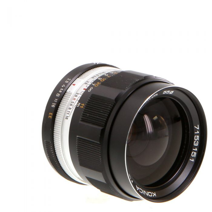 Konica 35mm F/2.8 Hexanon EE Chrome Ring Lens {55}