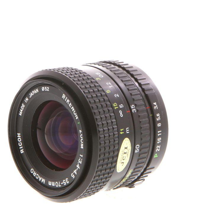 Ricoh 35-70mm F/3.4-4.5 Rikenon P Macro Manual Focus Lens For Pentax K Mount {52}