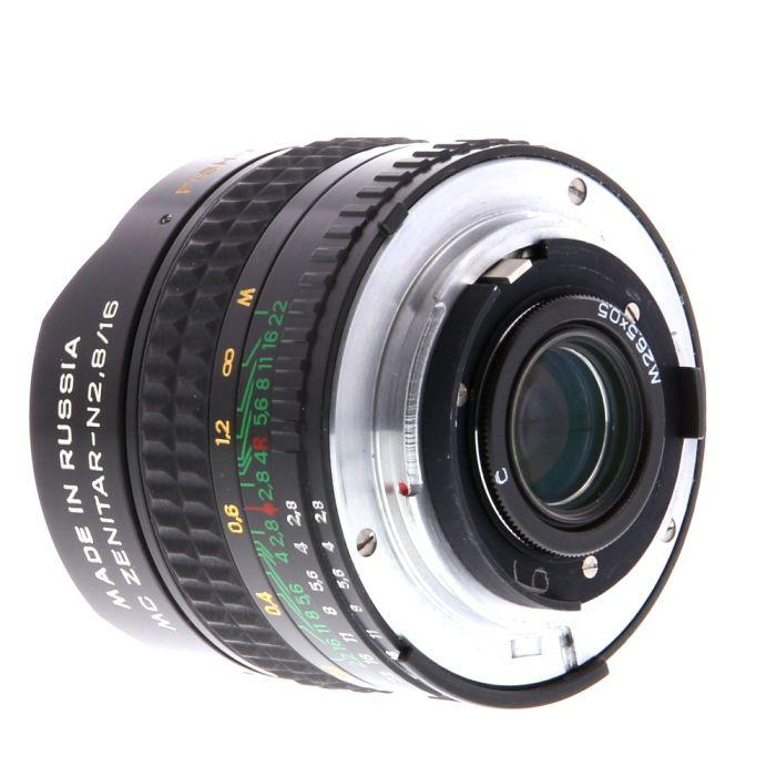 KMZ 16mm F/2.8 Zenitar-N MC Fisheye AIS Manual Aperture, Manual Focus Lens For Nikon {Rear 26.5}