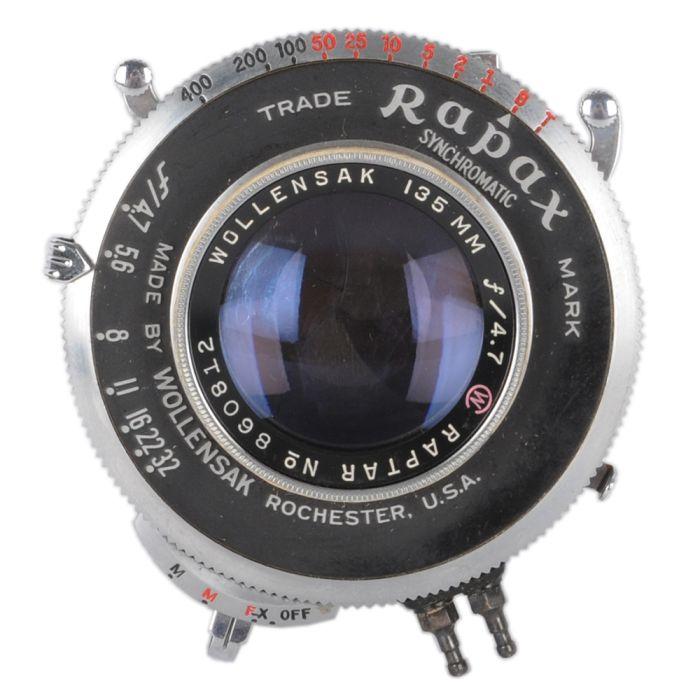 Wollensak 135mm f/4.7 Raptar Rapax BT Bipost (35 MT) 4X5 Lens