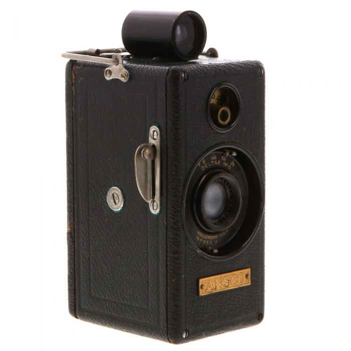 Ansco Memo 1927 Type, 1/2 Frame, Black Leather Camera with Wollensak Velostigmat f/6.3 Lens, and 2 Cassettes
