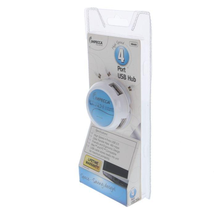 USB Hub 2.0 4 Port Blue (Impecca)