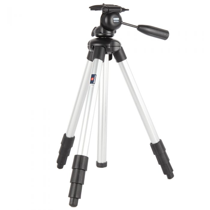 Manfrotto 390 Junior Aluminum 4-Section Tripod with Integrated 390 3-Way Head, Chrome, 22-63.5\
