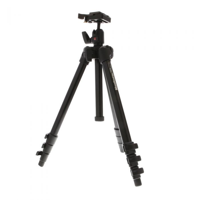 Manfrotto 7302YB Aluminum Tripod with Integrated Ballhead, 4-Section, Black 14.2-56.7\