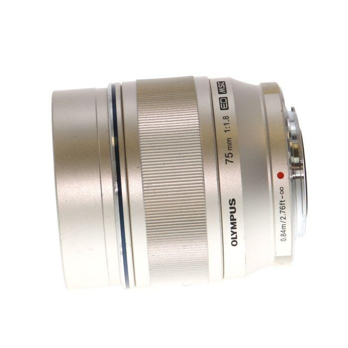 Olympus 75mm F/1.8 M.Zuiko ED MSC Silver Autofocus Lens For Micro Four Thirds System {58}
