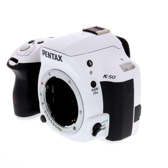 Pentax K-50 DSLR Camera Body, White {16.3MP}