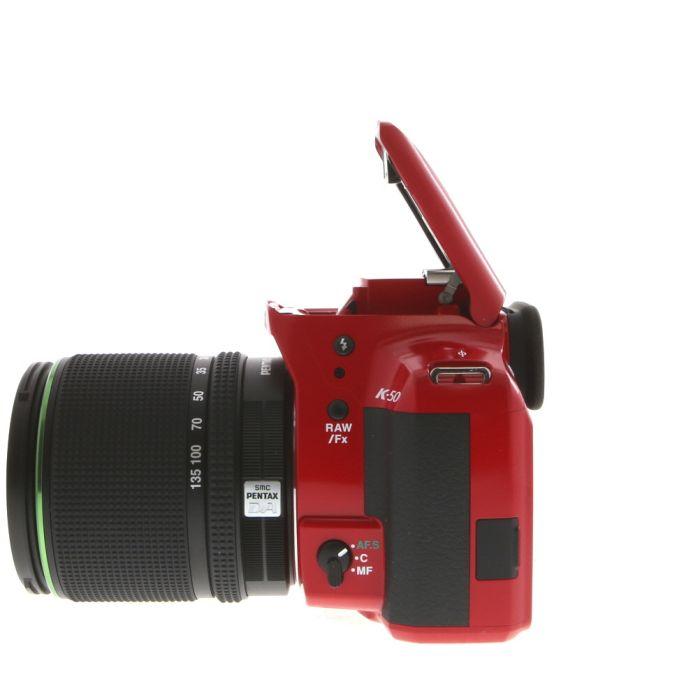 Pentax K-50 Red Digital Camera With 18-135mm F/3.5 DA ED AL IF DC WR Black Lens (62) {16.3MP}