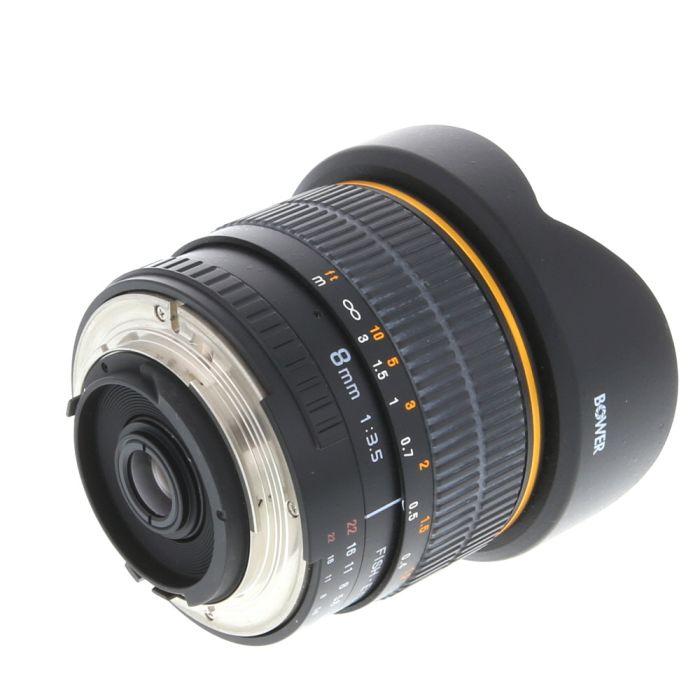 Bower 8mm F/3.5 Fisheye Aspherical CS Manual Focus Lens for Nikon APS-C Sensor DSLR
