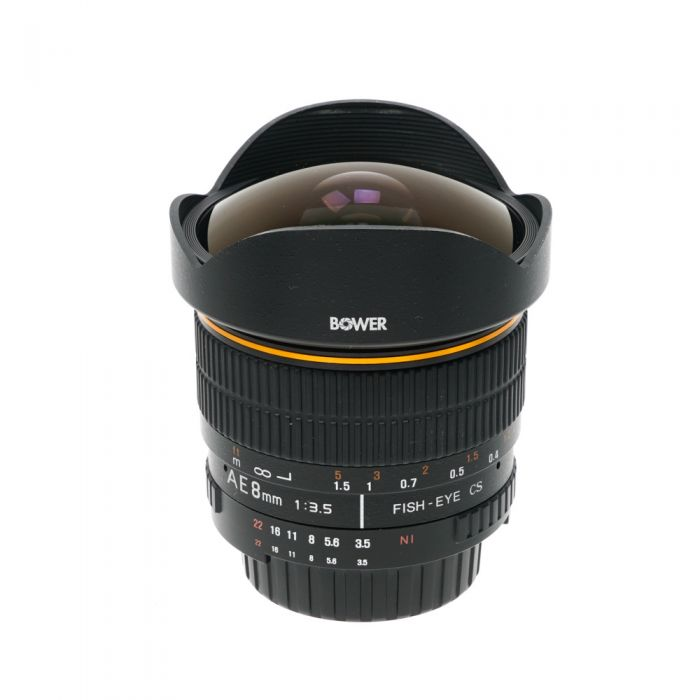 Bower 8mm f/3.5 Fisheye Aspherical AE CS Manual Focus Lens with CPU Contacts for Nikon APS-C Sensor DSLR