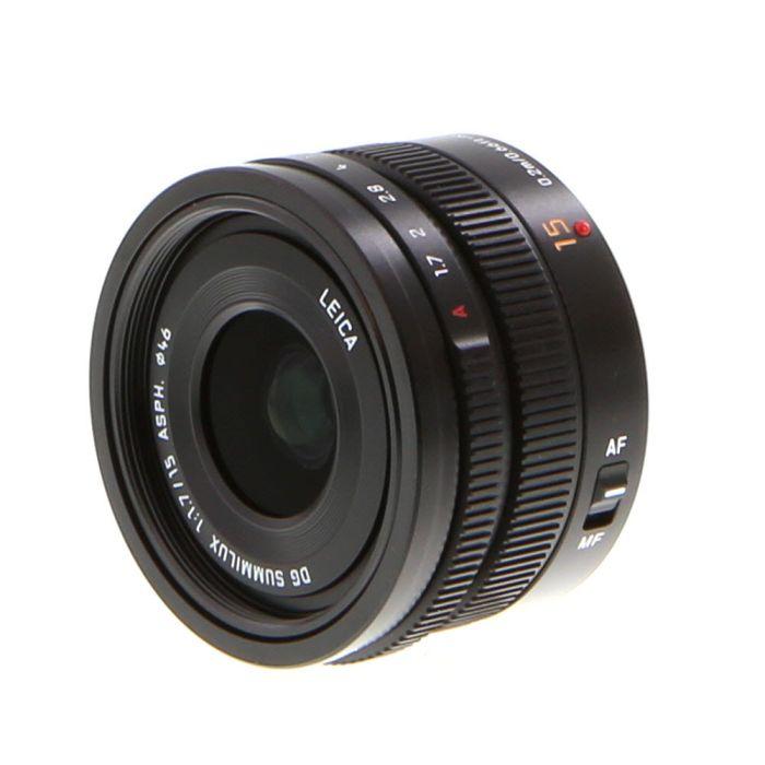 Panasonic Lumix Leica 15mm f/1.7 DG Summilux ASPH. AF Lens for Micro Four MFT, Black {46} with Decoration Ring H-X015K