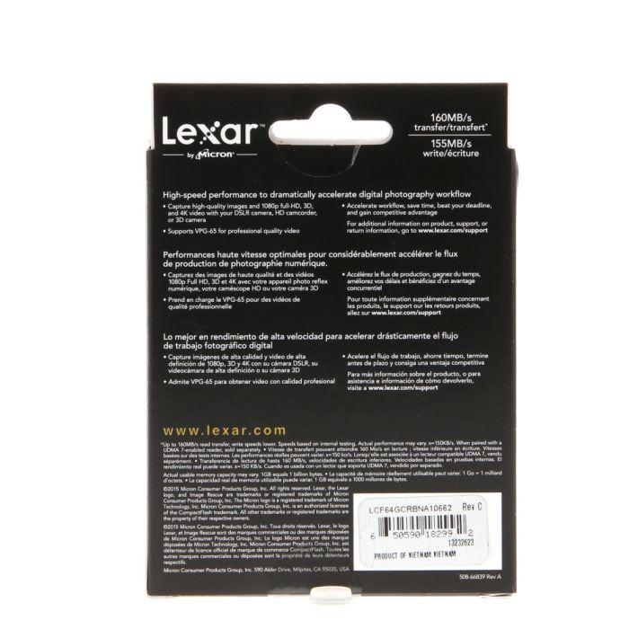 Lexar Pro 64GB 1000X UDMA 7 Compact Flash [CF] Memory Card