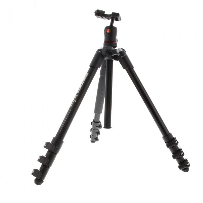 Manfrotto Befree Compact Travel Aluminum Tripod with Ball Head, 4-Section, Black, 16-56.7 in. (MKBFRA4-BH)