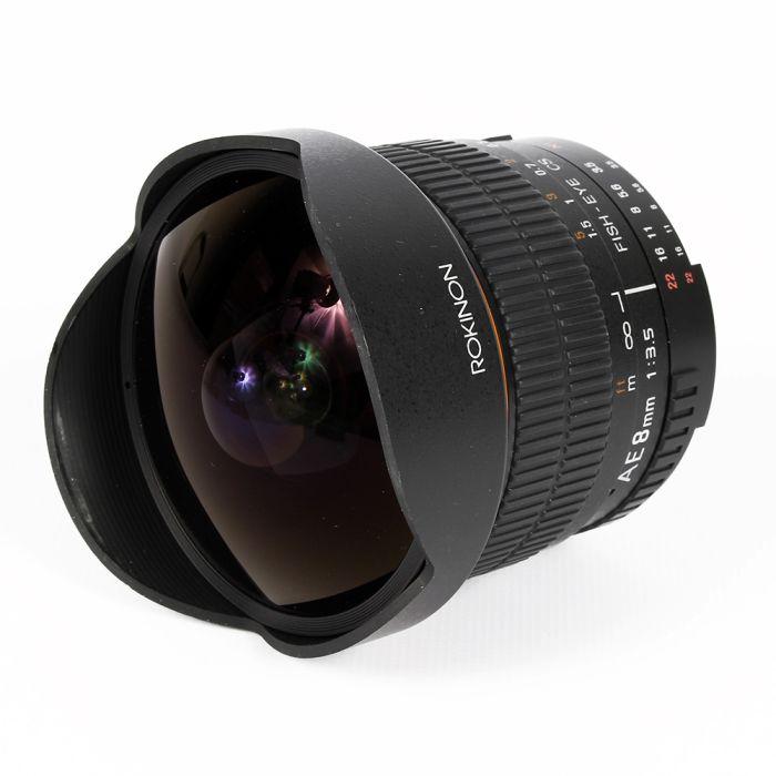 Rokinon 8mm F/3.5 AE CS Fisheye Aspherical Manual Focus Lens for Nikon APS-C Sensor DSLR (with AE Chip)