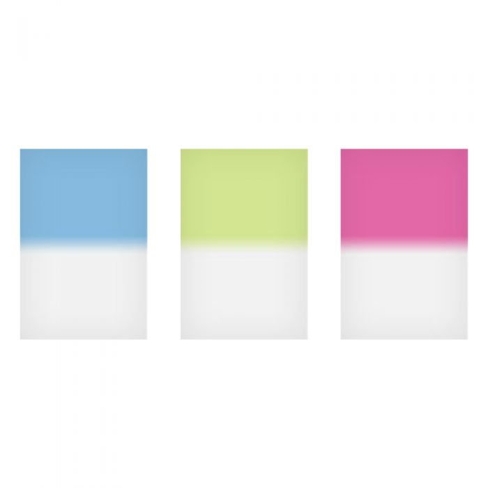 LEE Filters 4X6 Inch Graduated Hard Pale Tint Pink 1, Cyan 1, Green 1 Filter Set
