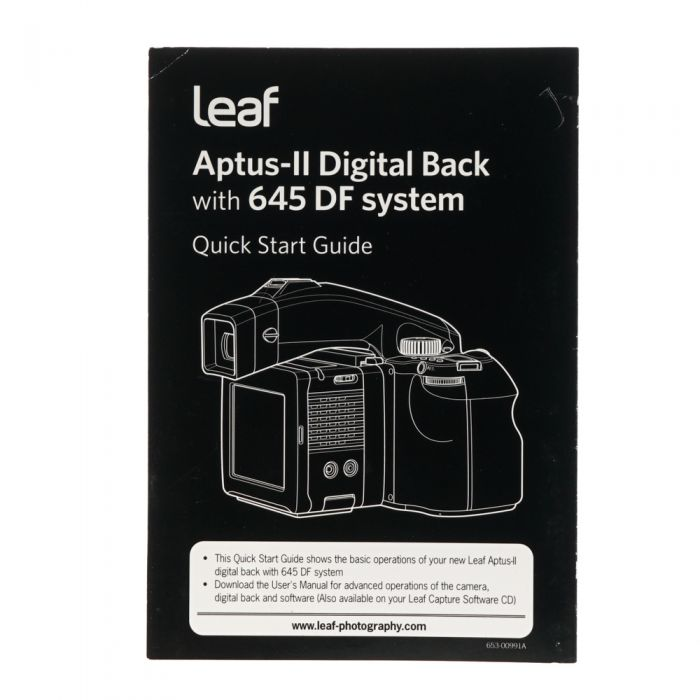 Leaf Aptus-II Digital Back with 645 DF System Quick Start Guide