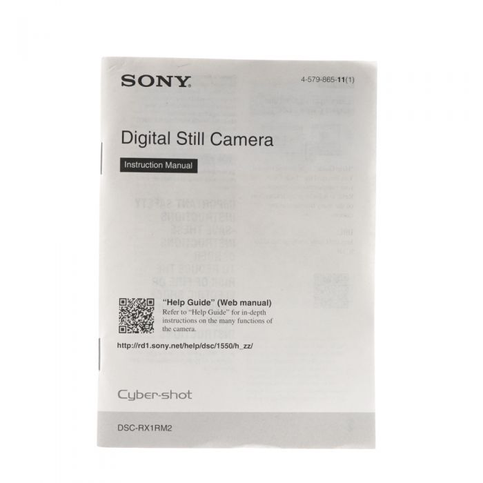 Sony RX1RM2 Instructions