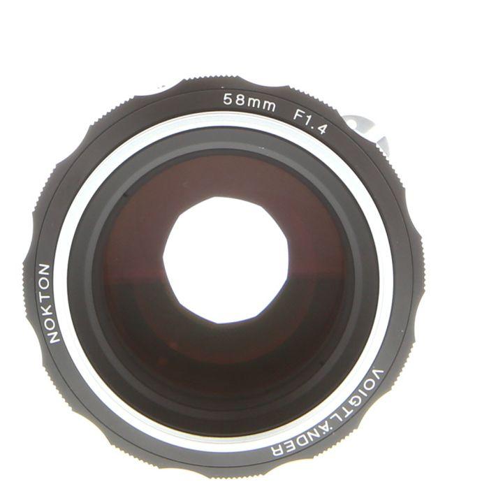 Voigtlander 58mm F/1.4 Nokton SL II N (All Black, Metal Focus Ring)(With CPU Contacts) Manual Focus Lens For Nikon {58}