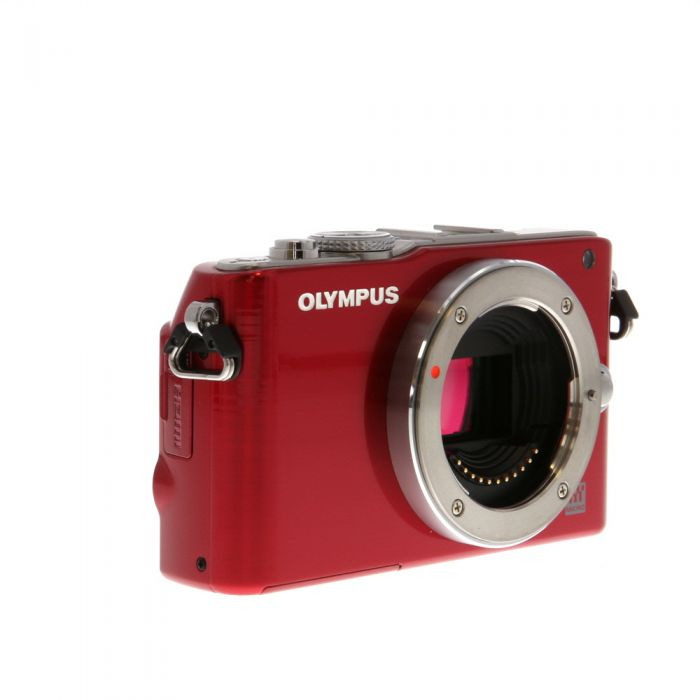 Olympus PEN E-PL3 Mirrorless Micro Four Thirds Digital Camera Body, Red {12.3 MP}