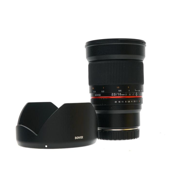 Bower 16mm F/2 Aspherical ED AS UMC CS (Manual Focus,Manual Aperture) Lens For Canon Mirrorless EF-M Mount {77}