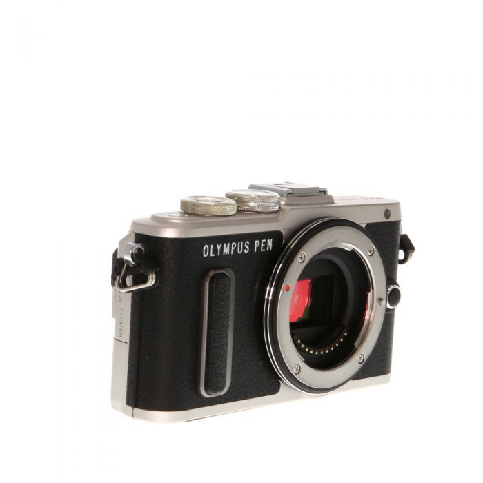 Olympus PEN E-PL8 Mirrorless Micro Four Thirds Digital Camera Body, Silver With Black Leather {16.1 MP} with FL-LM1 Flash