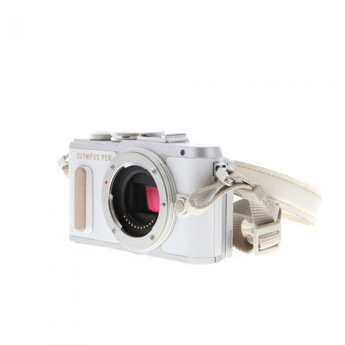Olympus PEN E-PL8 Mirrorless Micro Four Thirds Digital Camera Body, Silver/White Leather {16.1 M/P} with FL-LM1 Flash
