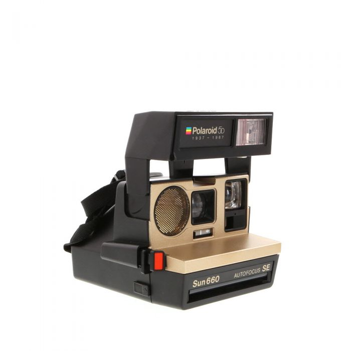 Polaroid Sun 660 Black Instant Camera With Impossible Project Film Shield (Frog Tongue)