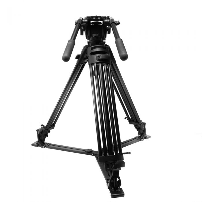 Manfrotto 515MVB Aluminum 3-Section Video Tripod with 516 100mm Pro Half Ball Fluid Video Head, Floor Level Spreader, Black, 33-66\