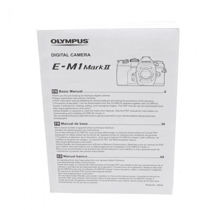 Olympus E-M1 Mark II Basic Manual Instructions, Micro Four Thirds