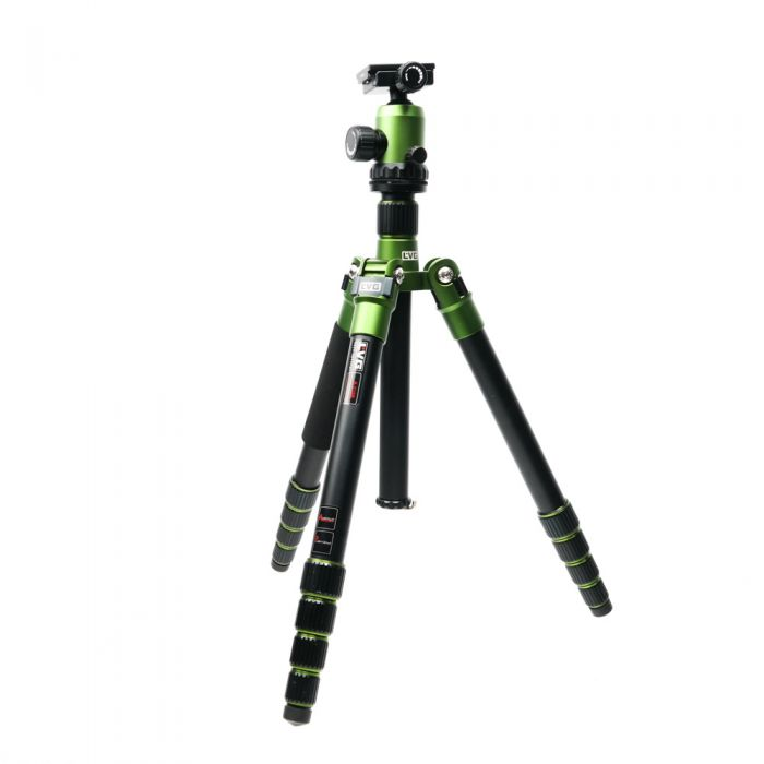 LVG A-215B Aluminum Tripod, Green, with NB535 Ball Head, Green, 5-Section, 15-60.2