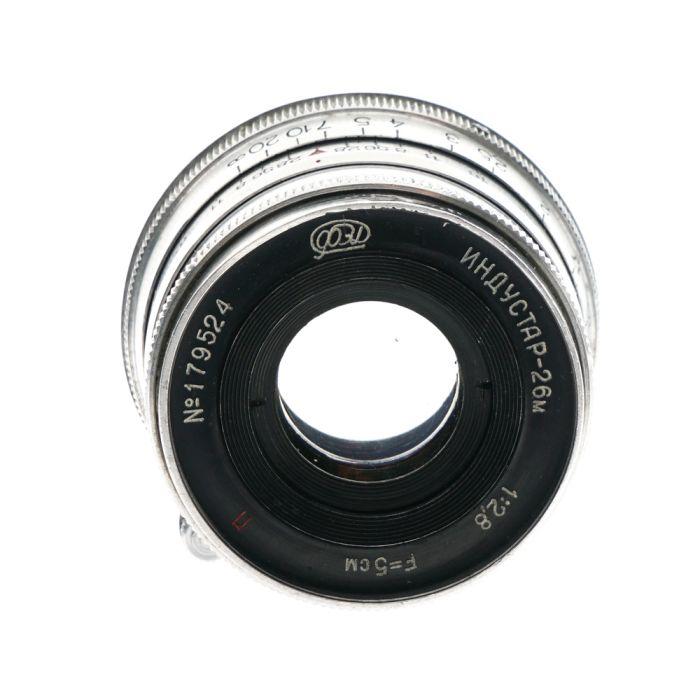 FED 5cm (50mm) f/2.8 Industar-26M P M39 Lens for Leica Screw Mount, Aluminum {40.5}