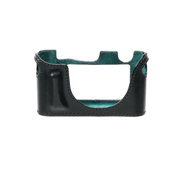 Arte di Mano Leather Half Case for M Monochrome with Thumbs Up Cutout, Buttero Black/Black Stitch