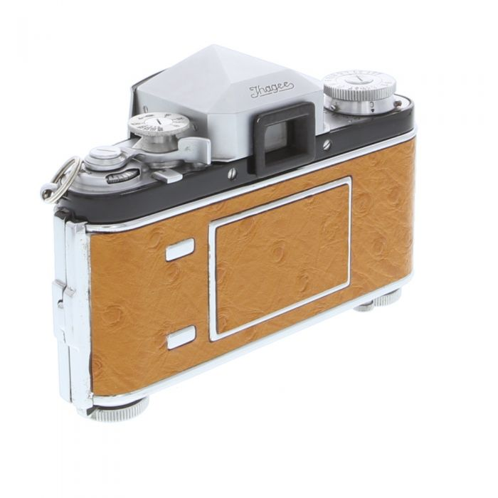 Exakta Varex VX (Version 1 With M, X, T) With Prism Finder Version 2, with Tan Ostrich Leather, 35mm Camera Body