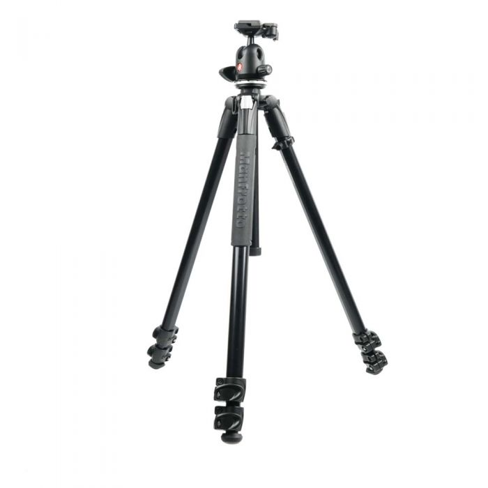 Manfrotto 290 XTRA Aluminum 3-Section Tripod with 496RC2 Ball Head, Black, 27.8-66.9\