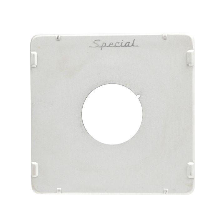 Graflex Graphic Press 4X5 35 Hole Chrome Special Notched Lens Board