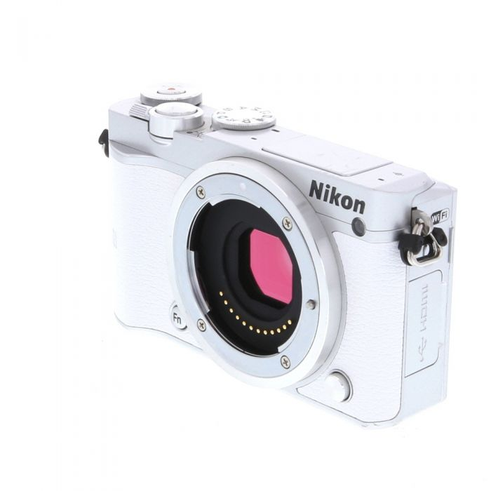 Nikon 1 J5 Mirrorless Digital Camera, Silver Body with White Leather {20.8} With 10-100mm F/4-5.6 VR Zoom Silver Lens {55}