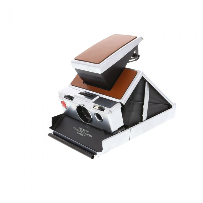 Polaroid SX-70 Alpha 1 Camera, Brown Leather with Impossible Project Film Shield (Frog Tongue)