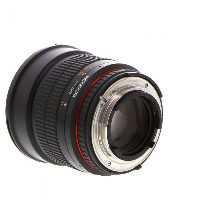 Rokinon 85mm F/1.4 AS IF UMC Manual Focus Lens For Nikon With Focus Confirmation Chip (CPU Contacts, Red Ring) {72}