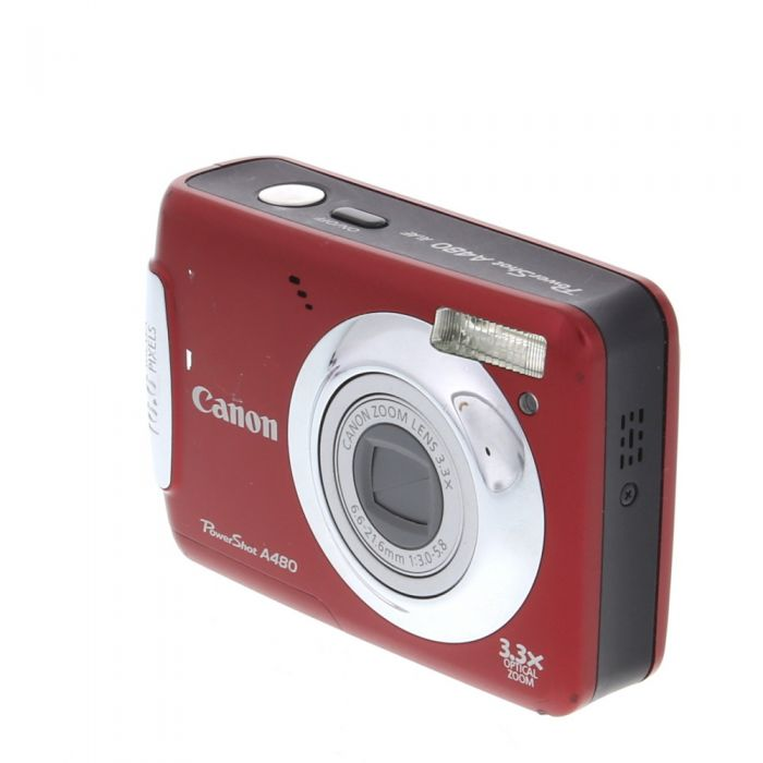 Canon Powershot A480 Digital Camera Red {10MP} (Requires 2/AA)