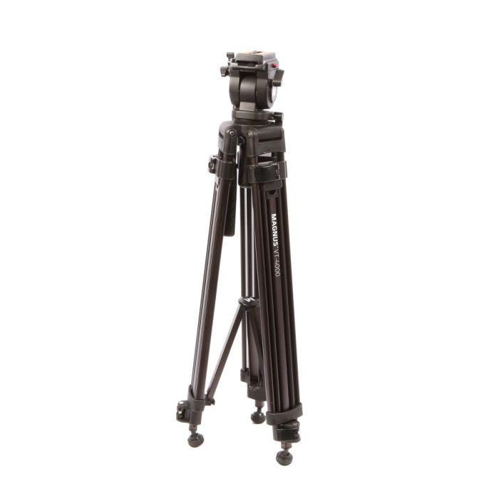 Magnus VT-4000 Video Tripod with Fluid Head, Black Aluminum, 3-Section, 30.3-59\