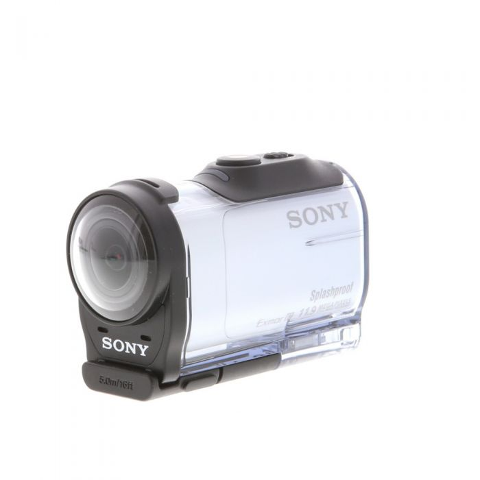 Sony HDR-AZ1 HD Action Cam Video Camera, White, With Waterproof Housing