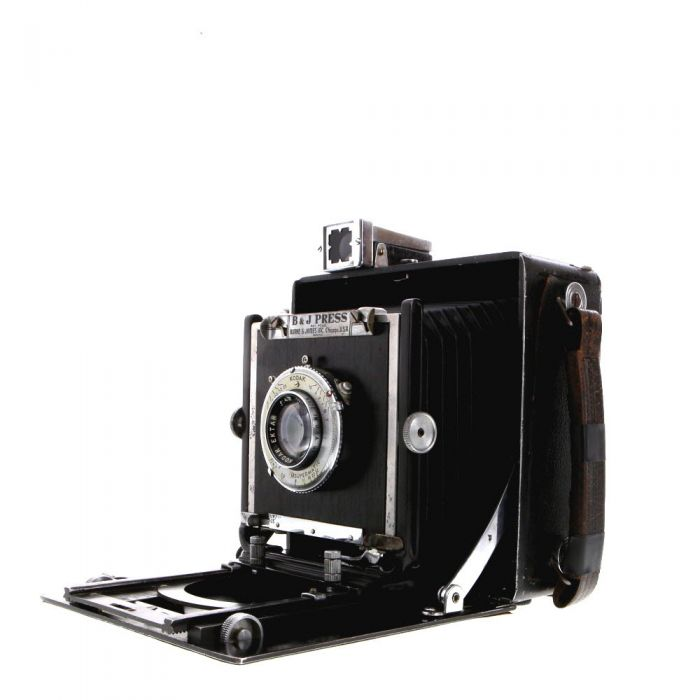 Burke & James 4X5 Watson Press Folding View Camera with Spring Back, Top Viewfinder, Side Rangefinder, 127mm F/4.7 Ektar, Kodak Supermatic (No Sync)