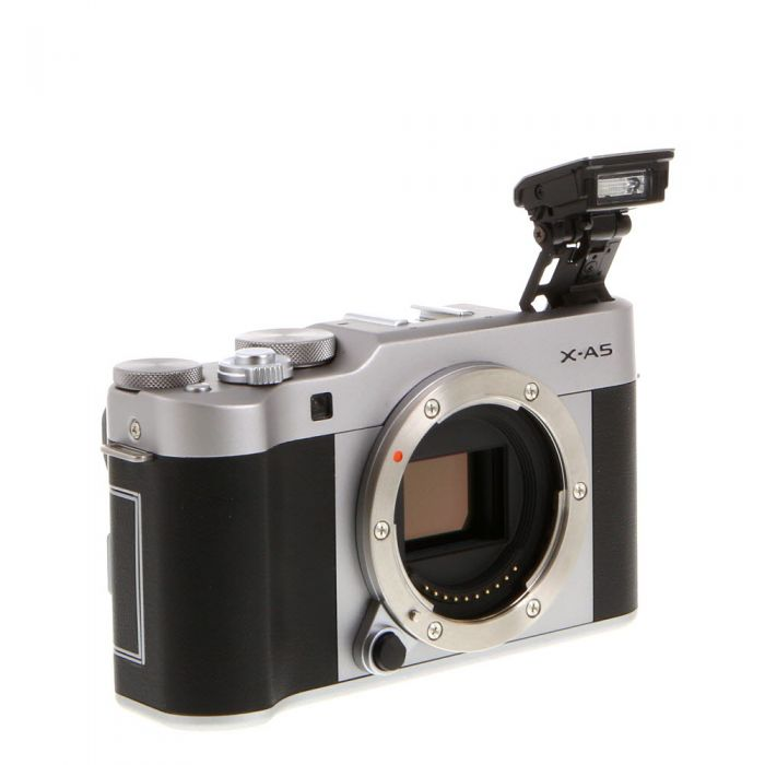 Fujifilm X-A5 Mirrorless Digital Camera Body, Silver with Brown Leather {24.2MP}