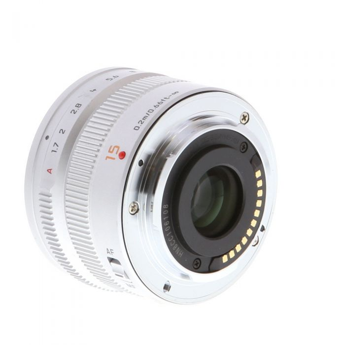 Panasonic Lumix Leica 15mm f/1.7 DG Summilux ASPH. AF Lens for Micro Four Thirds MFT, Silver {46} with Decoration Ring H-X015S