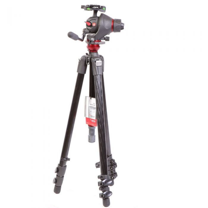 Manfrotto 755CX3 MagFiber Tripod with MH055M8-Q5 Photo-Movie Head, 1x Pan Bar, 3-Section, Black, 23.62