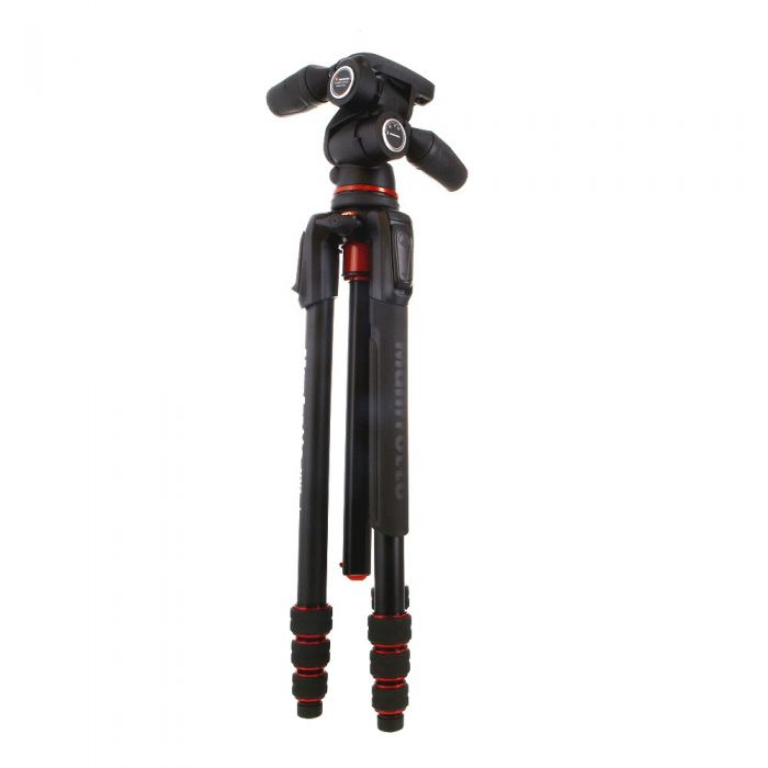 Manfrotto 190go! Aluminum 4-Section Tripod with 804 3-Way Head, Black, 3.54-52.76