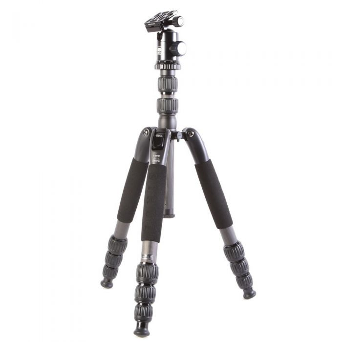 Sirui T-2204SK Carbon Fiber Travel Tripod Leg with G-20KX Ball Head, 4-Section, Black, 5.5-56.2 in.