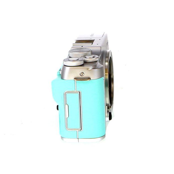 FUJIFILM X-A7 Mirrorless Digital Camera, Silver/Mint Green Leather {24.2MP}