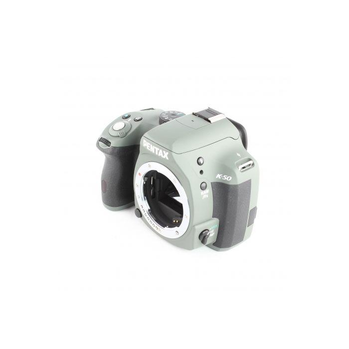 Pentax K-50 Olive Green with Black Grips Digital Camera With 18-55mm F/3.5-5.6 DAL AL WR Black Lens (52) {16.3 M/P}