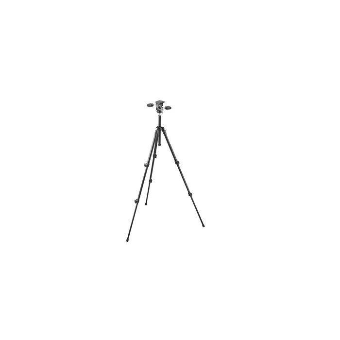 Manfrotto 190XDB Aluminum 3-Section Tripod, Black 25-61.4